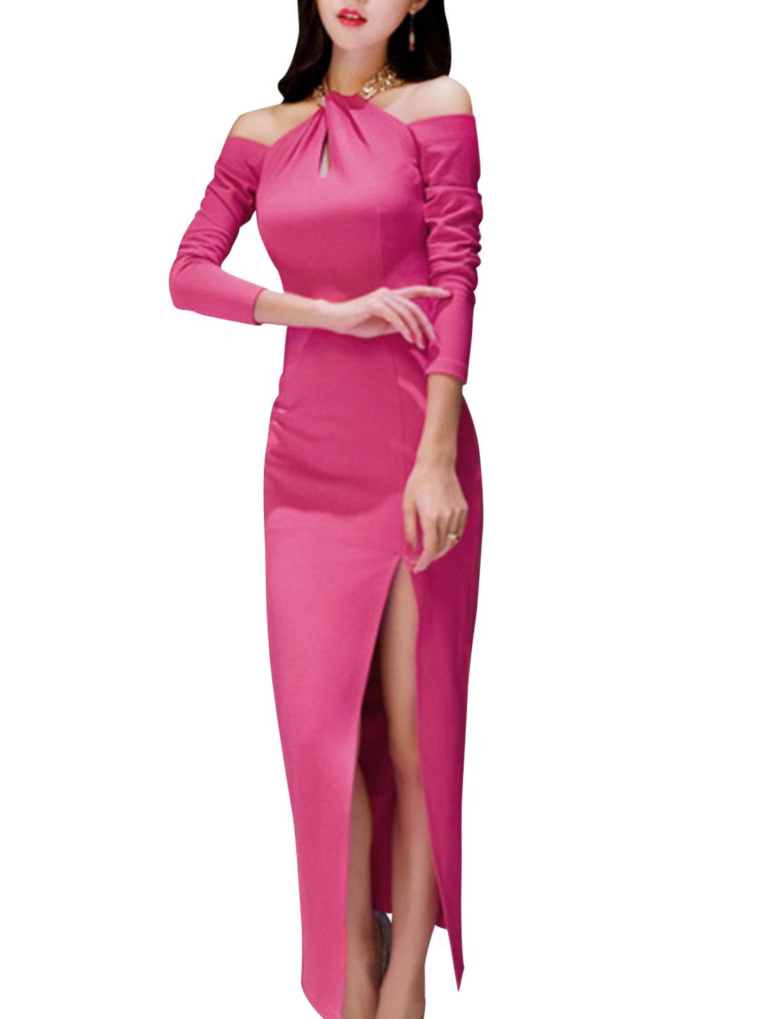 Ladies Fuchsia Drop Shoulder Split Side Sheath Dress M