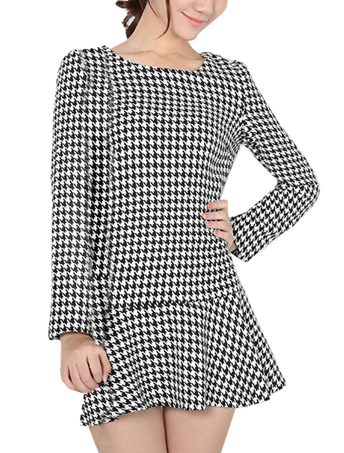 Ladies Black White Houndstooth Prints Long Sleeves Leisure Dress L