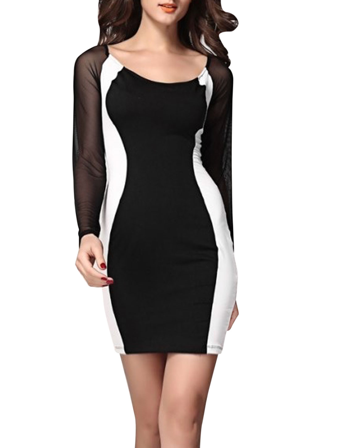Women Round Neck Mesh Spliced Contrast Color NEW Sheath Dress Black L