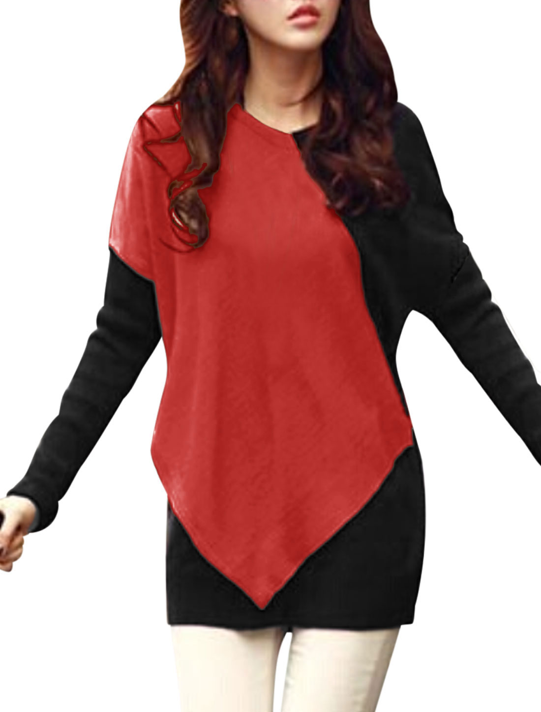 Women Batwing Sleeves Contrast Color Pullover Casual Tunic Blouse Red Black S