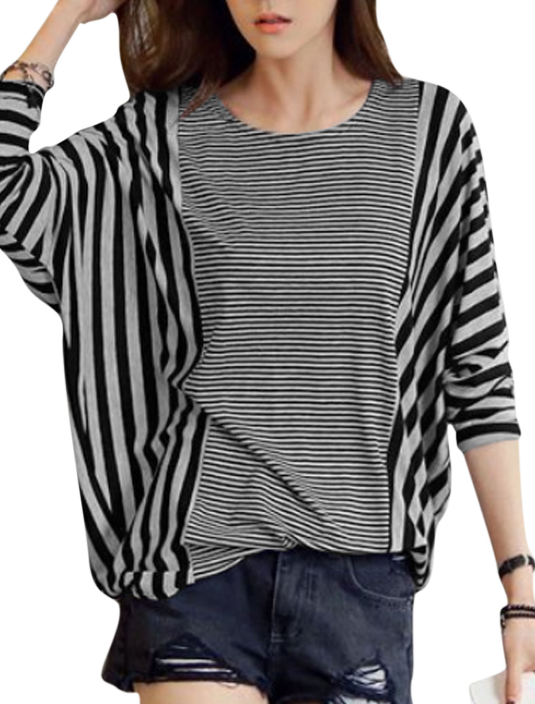 Ladies Black Gray Stripes Long Batwing Sleeves Leisure Tunic Top S