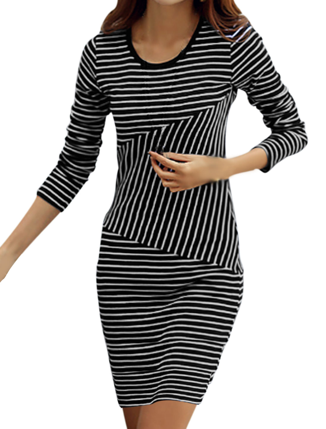 Round Neck Bar Striped Casual Sheath Dress for Women Black S