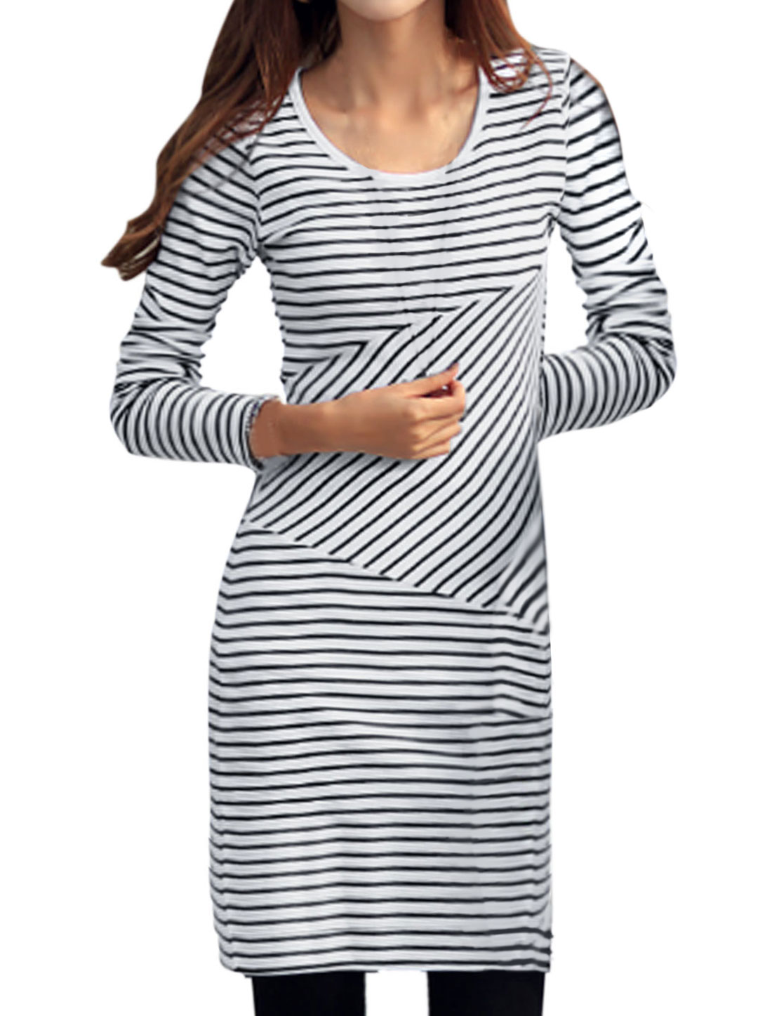 Women Round Neck Stripes Slipover NEW Sheath Dresses White S