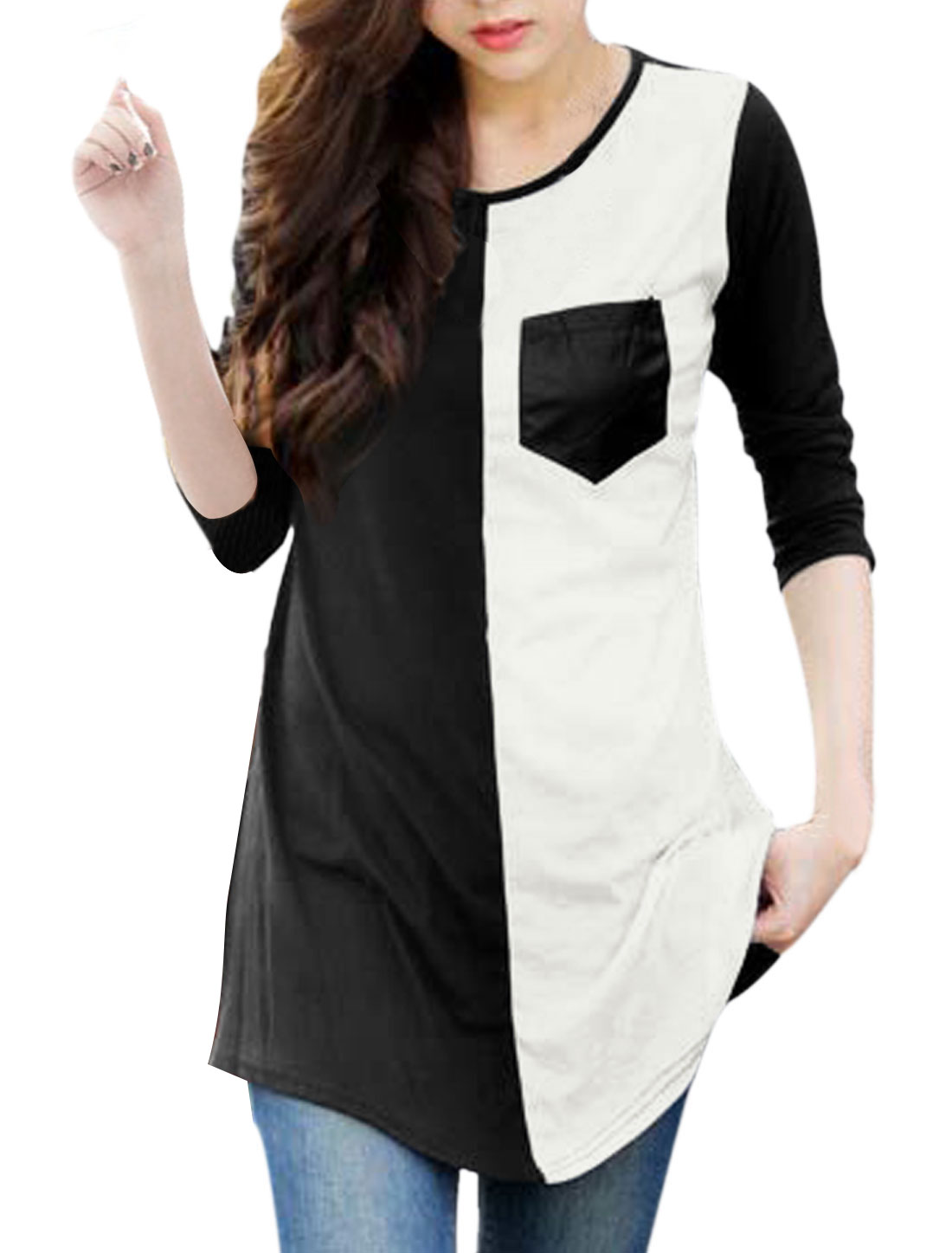 Women Black White Color Block One Bust Pocket Leisure Tunic Top S