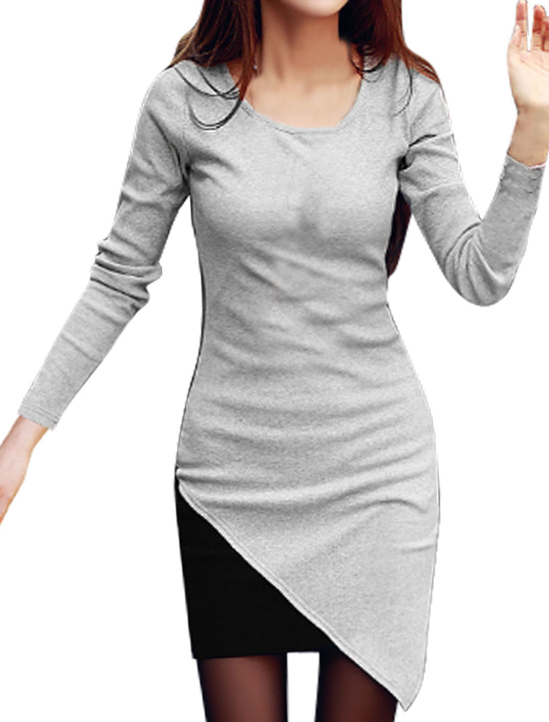 Woman Contrast Color Full Sleeve Pullover Light Gray Sheath Dress M