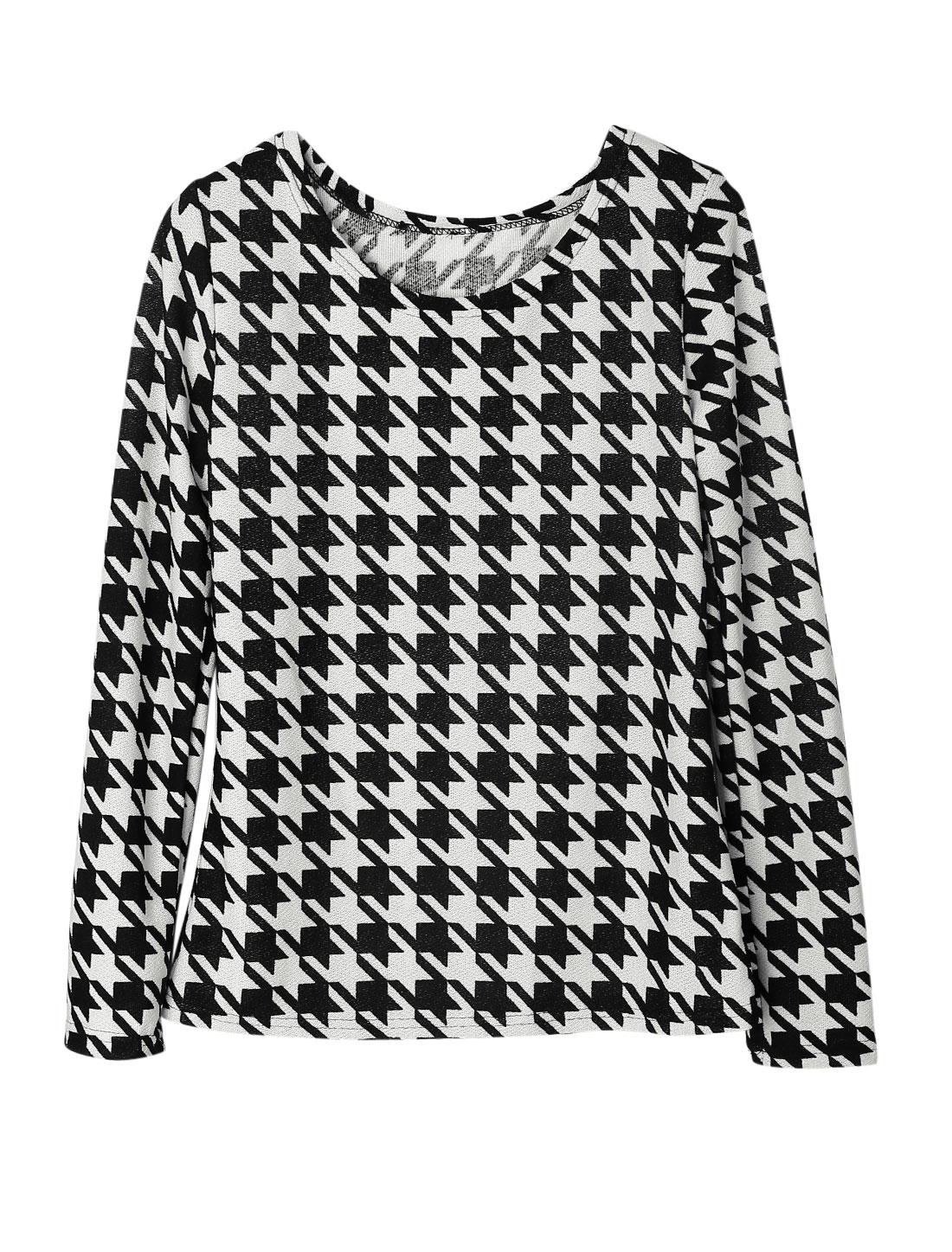 Women Long Sleeves Houndstooth Pattern Casual Tunic Knitted Shirt Black White M