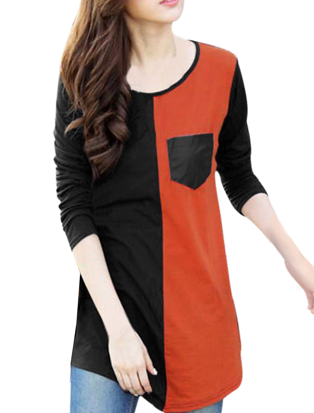 Ladies Orange Black Pullover Color Block One Bust Pocket Round Hem Tunic Top S