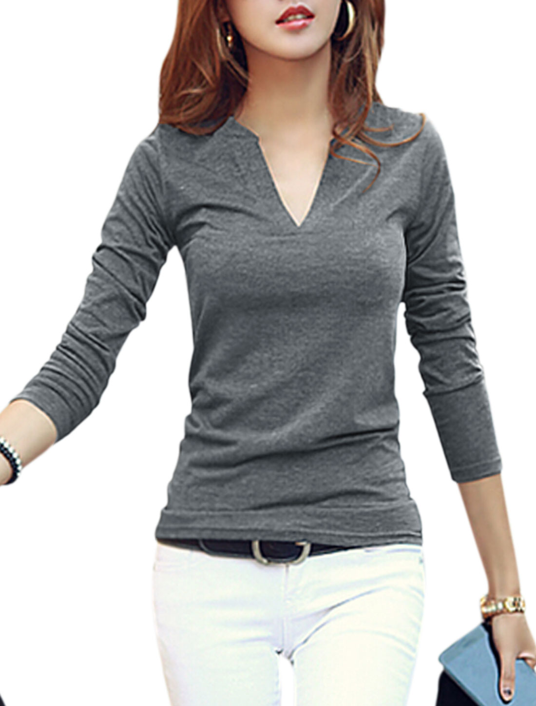 Ladies Gray Pullover Stretchy Slim Fit Split Neck Leisure Top S