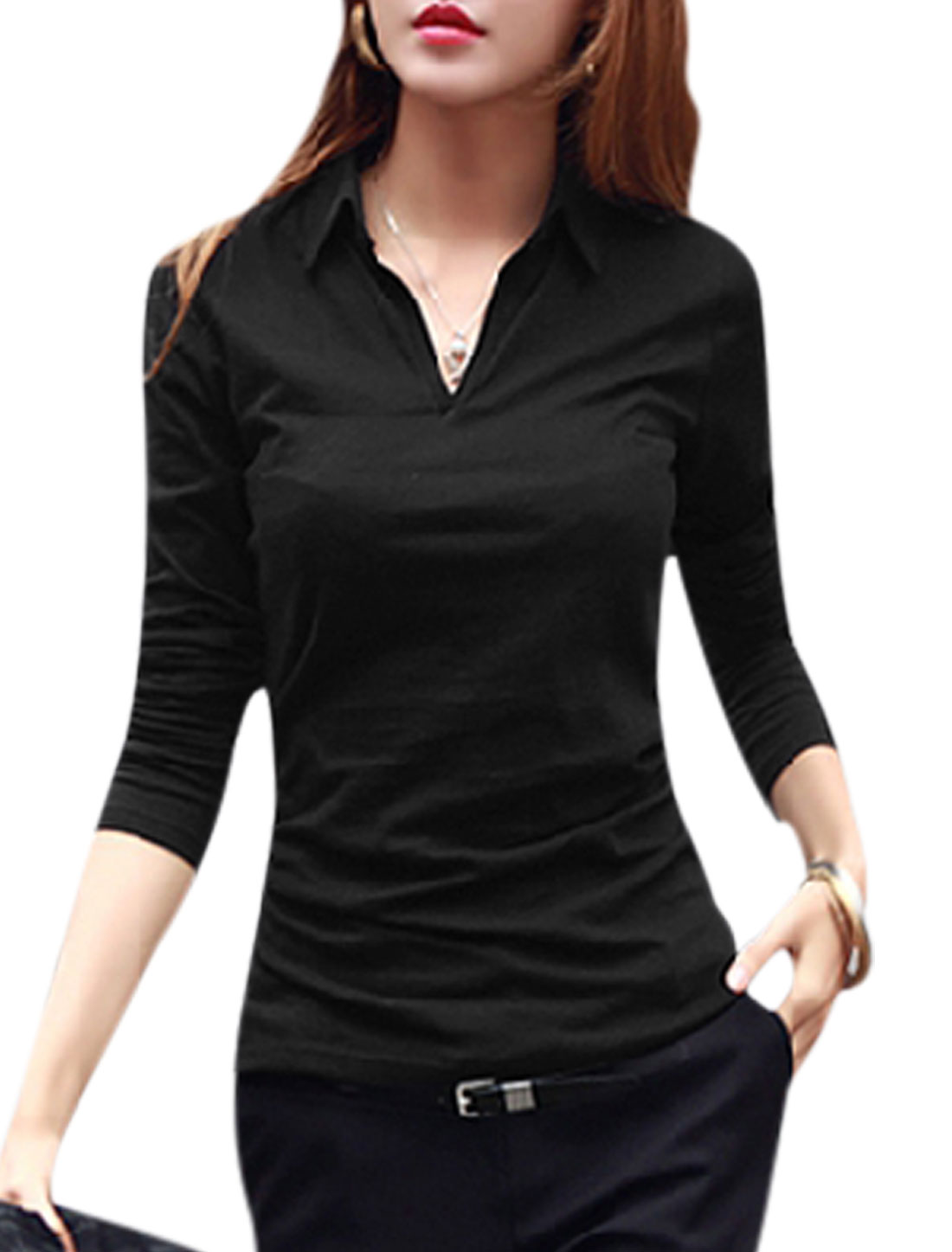 Women Turn Down Collar Long Sleeves Casual Shirt Black M