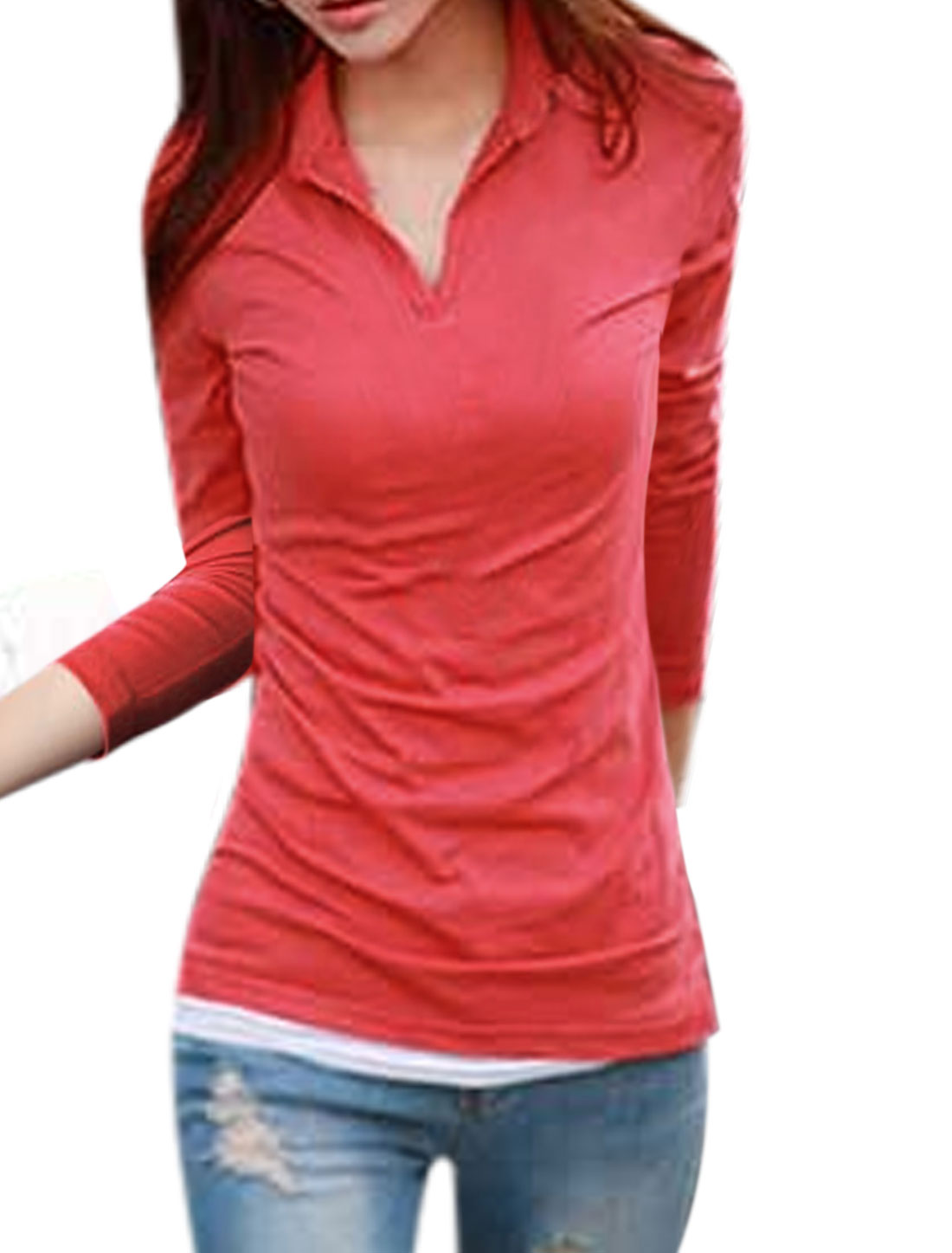 Split Sides Turn Down Collar Coral Casual Shirt for Women M
