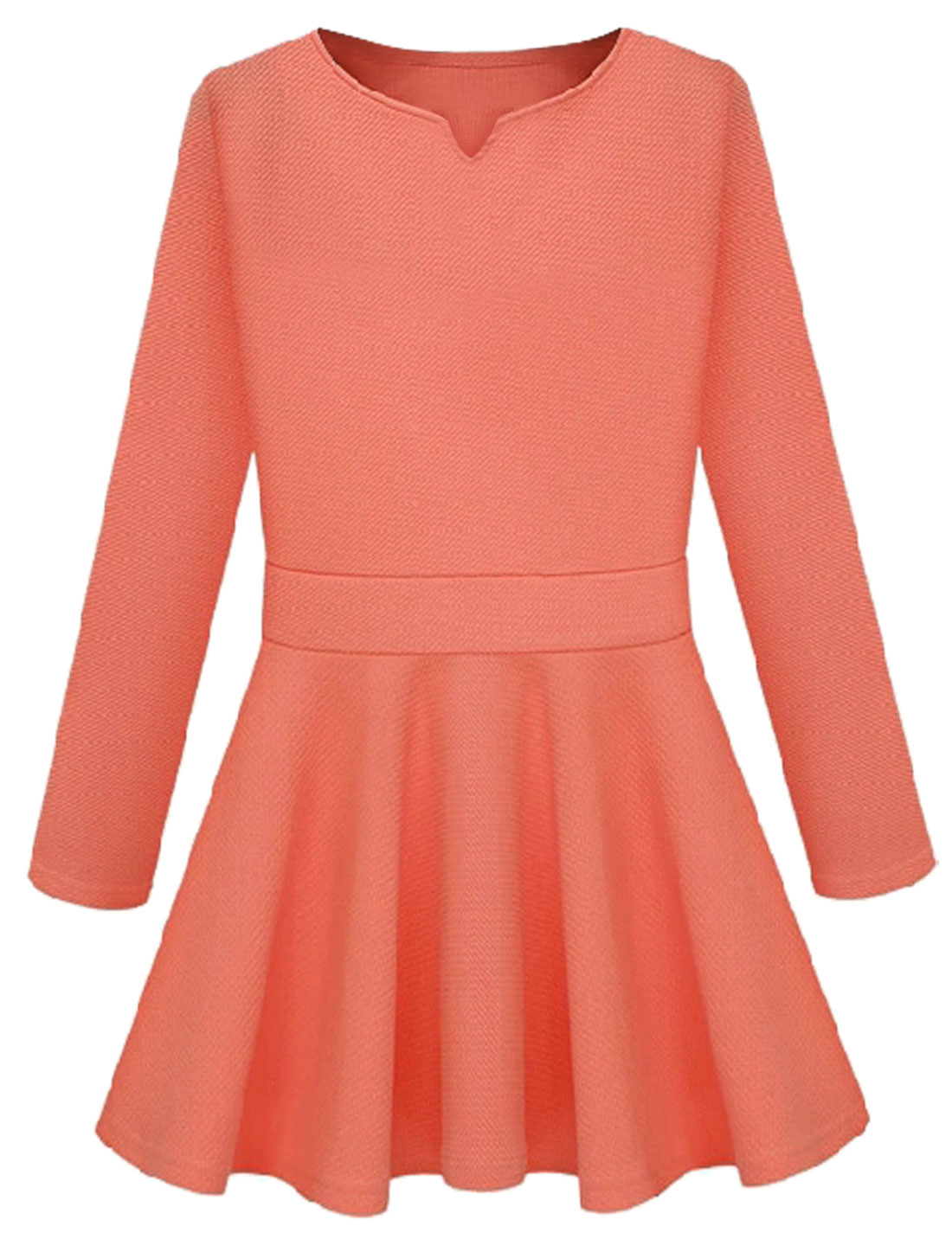 Women Split Neck Long Sleeves Slipover A-line Dresses Salmon S
