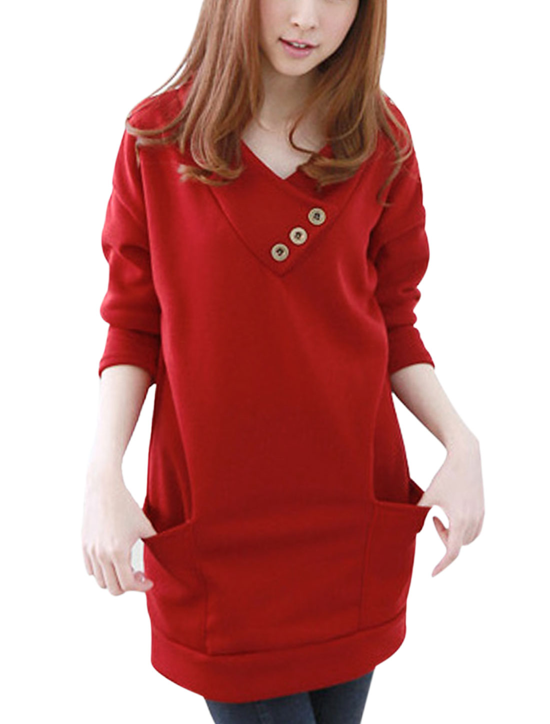 Hooded V Neckline Batwing Sleeves Casual Tunic Top for Women Warm Red XS