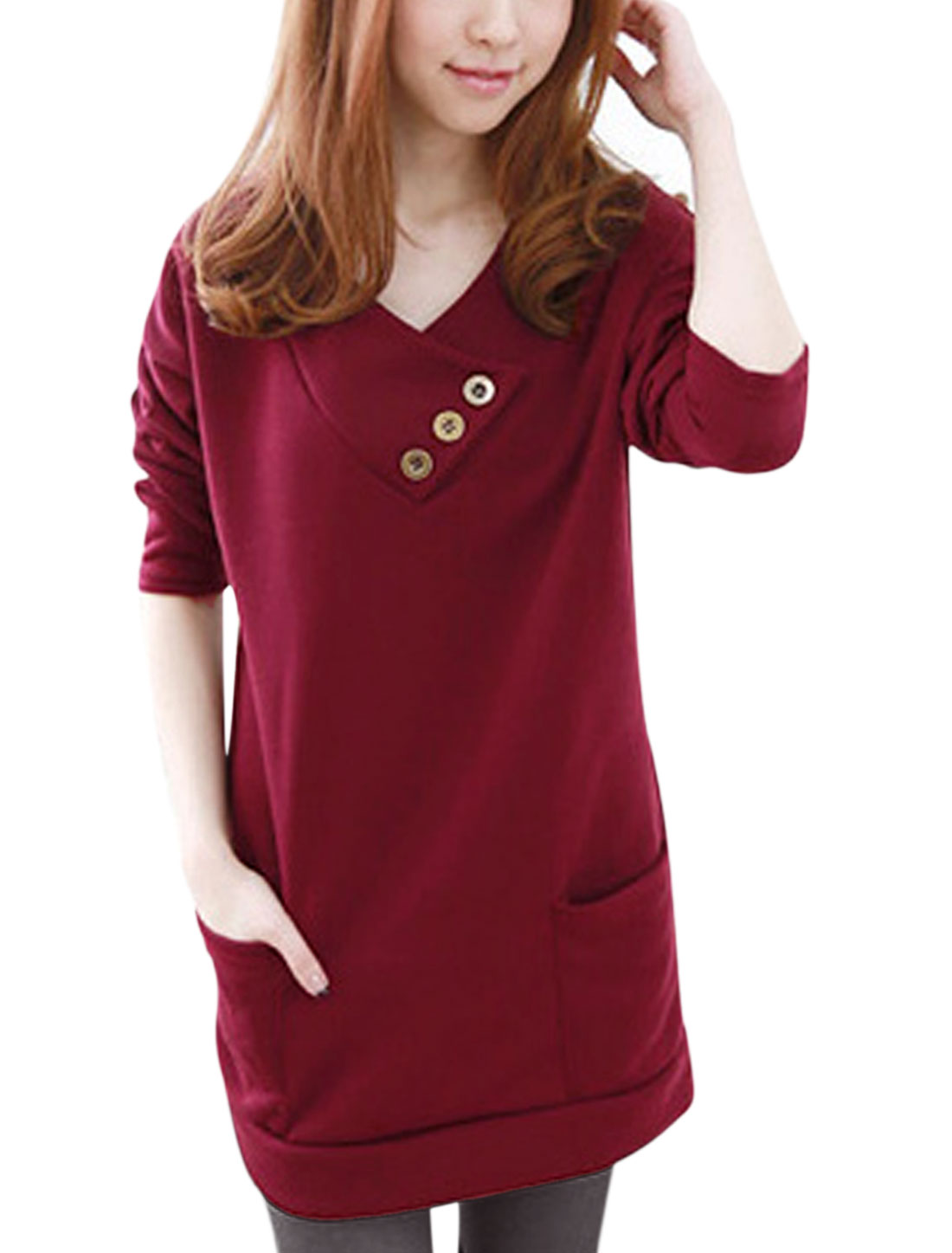 Women Hooded V Neckline Soft Lining Leisure Tunic Top Burgundy XS