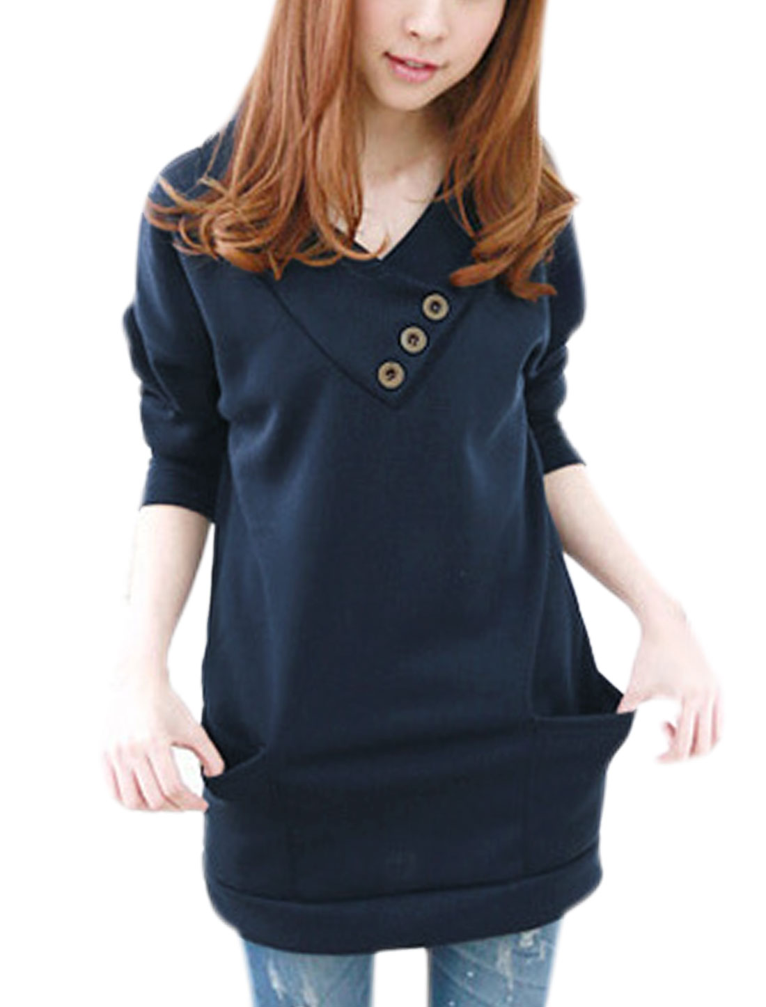 Women Hooded V Neckline Long Sleeves Chic Tunic Top Navy Blue XS