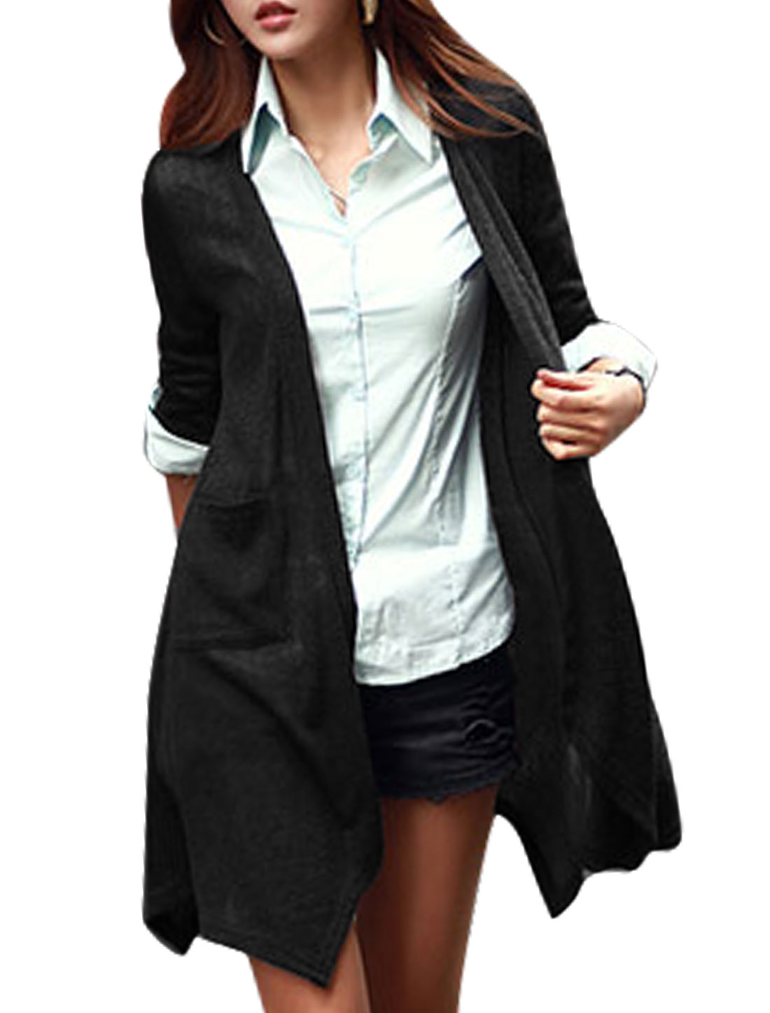 Women Front Opening Long Sleeves Tunic Knit Cardigan Black M