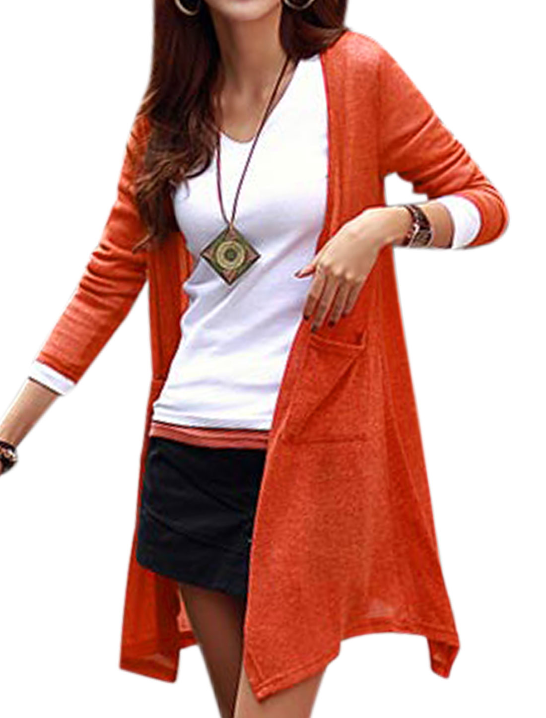 Ladies Asymmetric Hem Design Open Front Orange Tunic Knit Cardigan M
