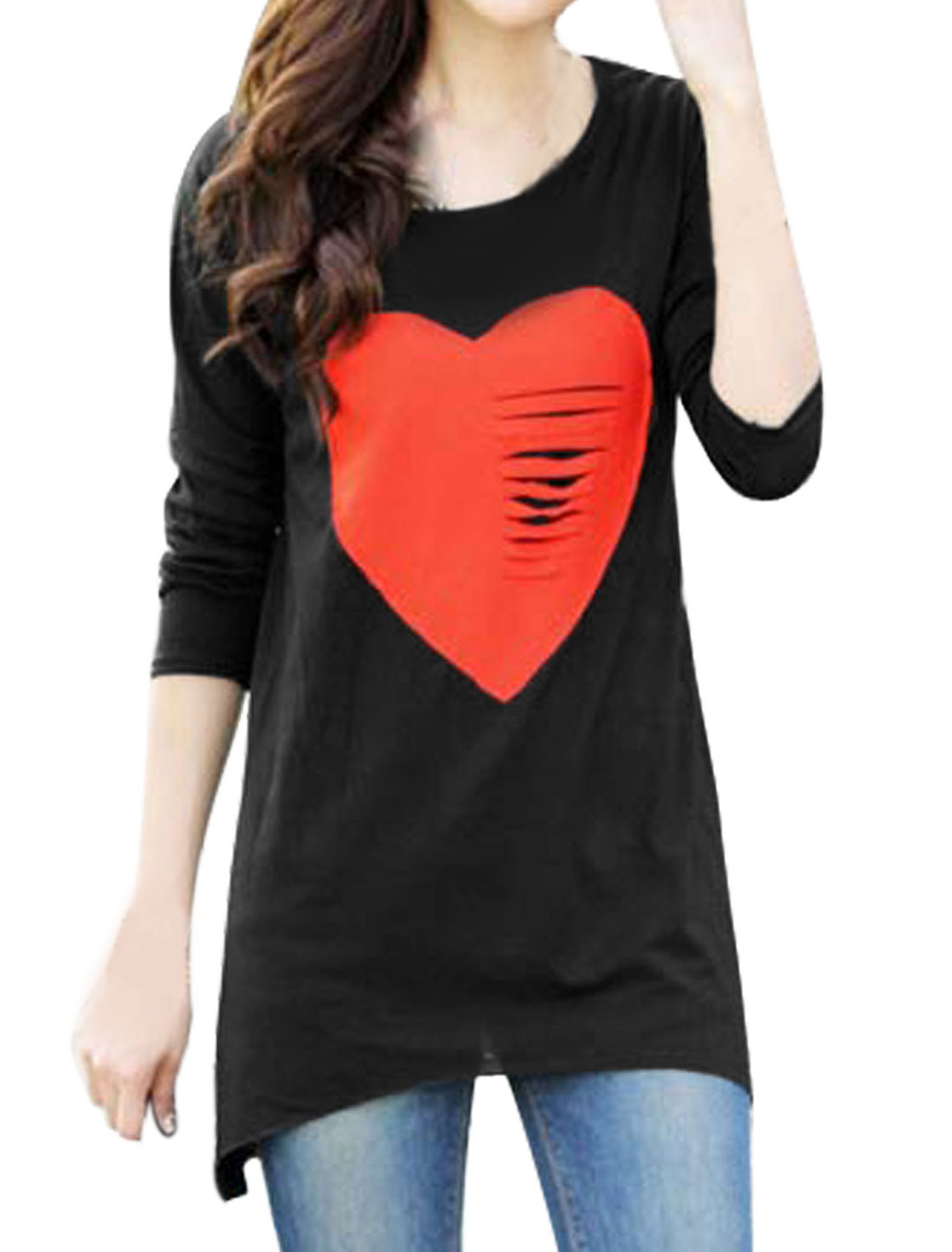 Women Heart Applique Long Sleeves Casual Tunic Shirt Black S