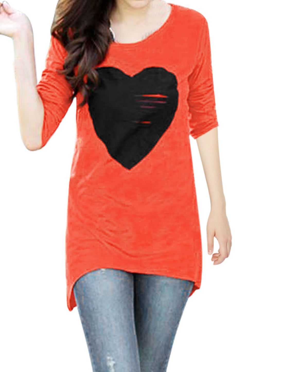 Woman Irregular Hem Round Neck Heart Applique Orange Tunic Shirt S