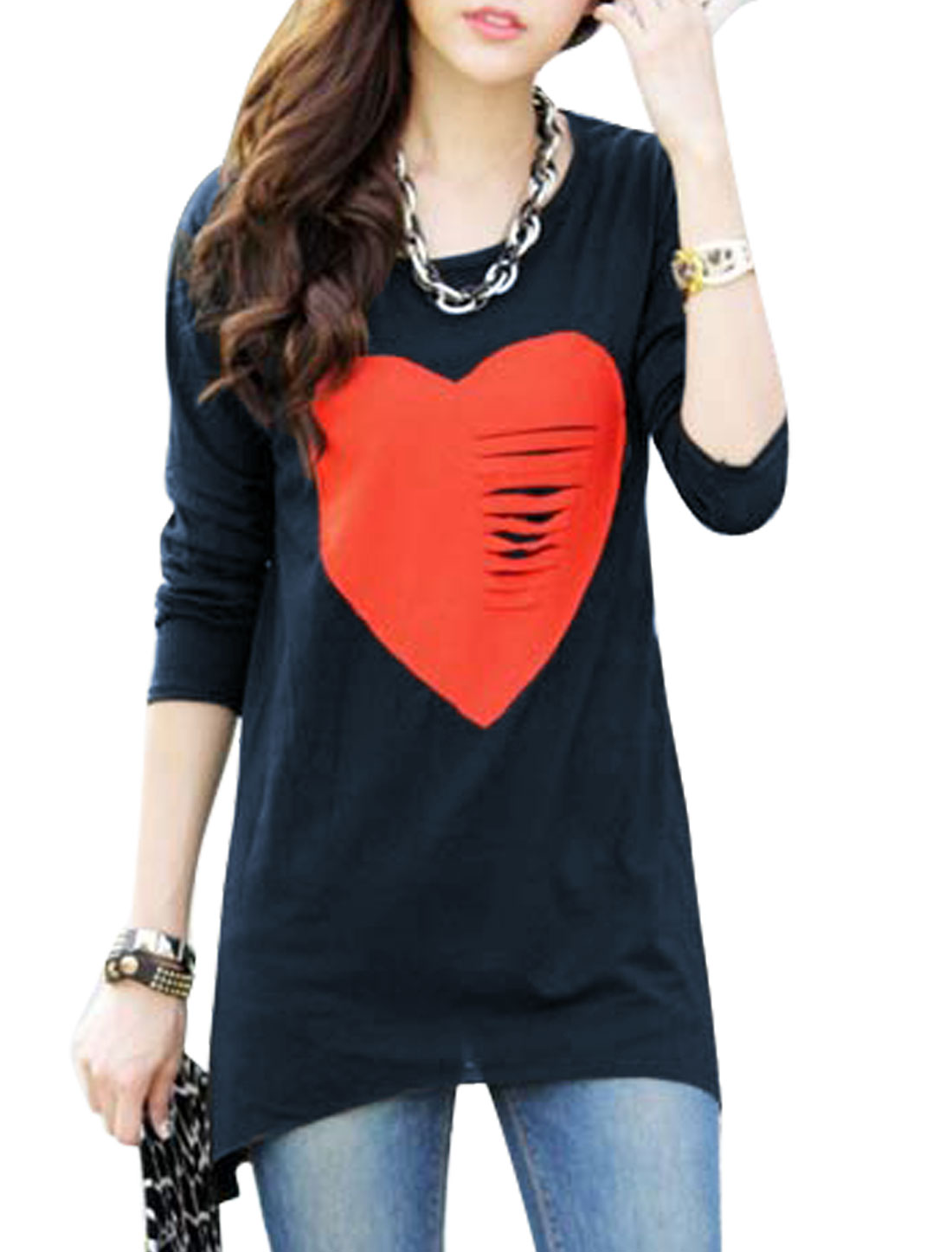Heart Applique Asymmetric Hem Stylish Navy Blue Tunic Shirt for Women S