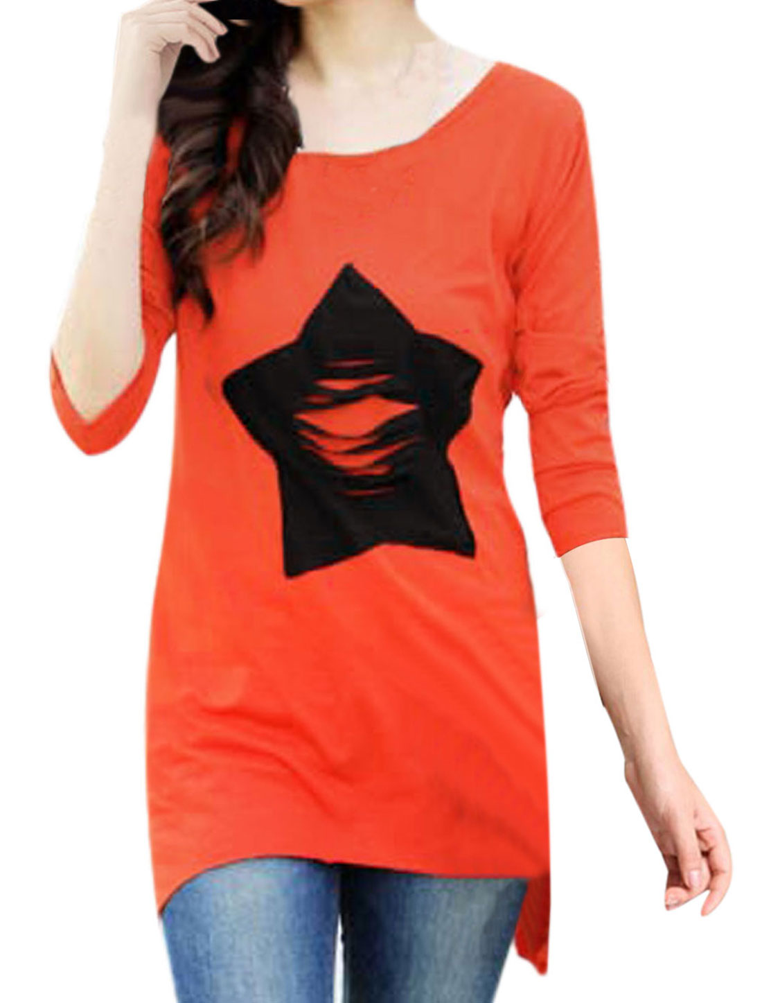 Women Stars Applique Irregular Hem Design Tunic Shirt Orange Red S