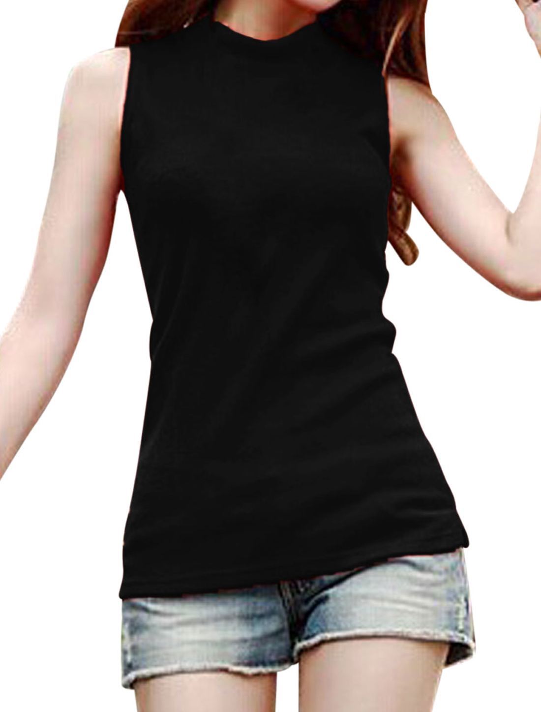 Mock Neck Sleeveless Casual Knitted Top for Women Black M