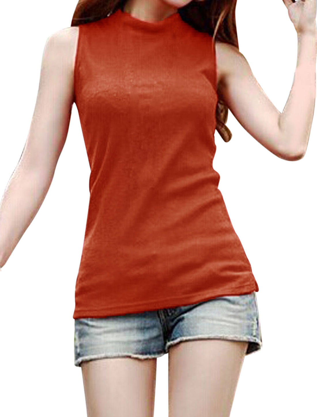 Sleeveless Split Sides NEW Knitted Top for Women Orange Red M
