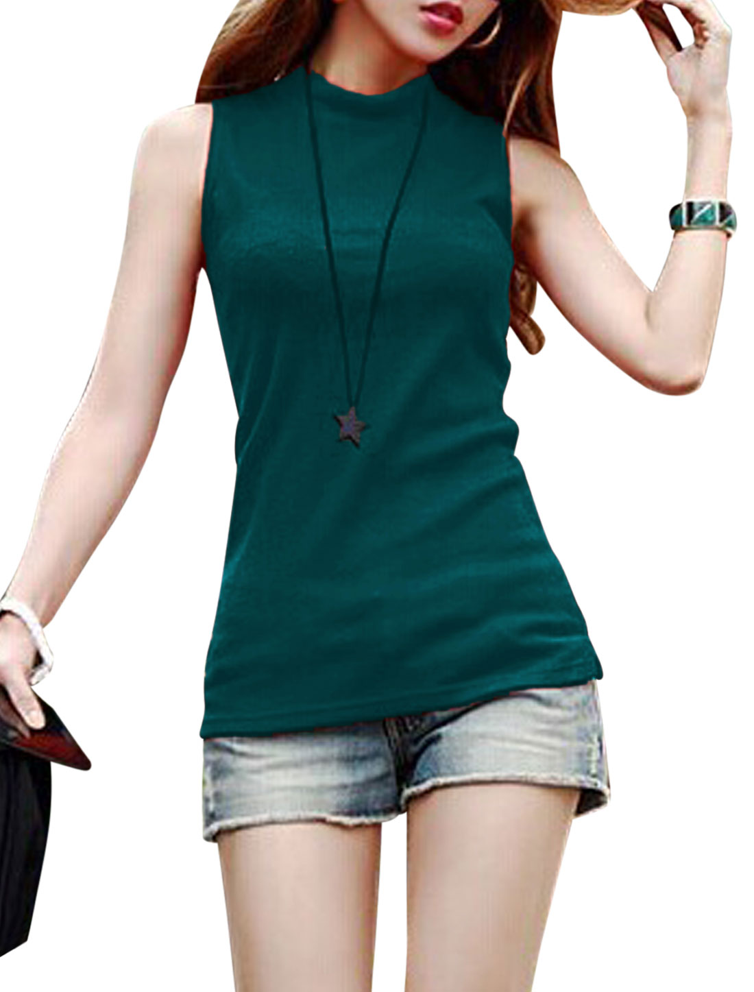 Mock Neck Split Sides New Style Knitted Top for Women Teal M