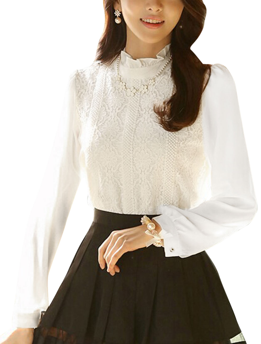 Women Ruffled Stand Collar Crochet Casual Chiffon Shirt White M