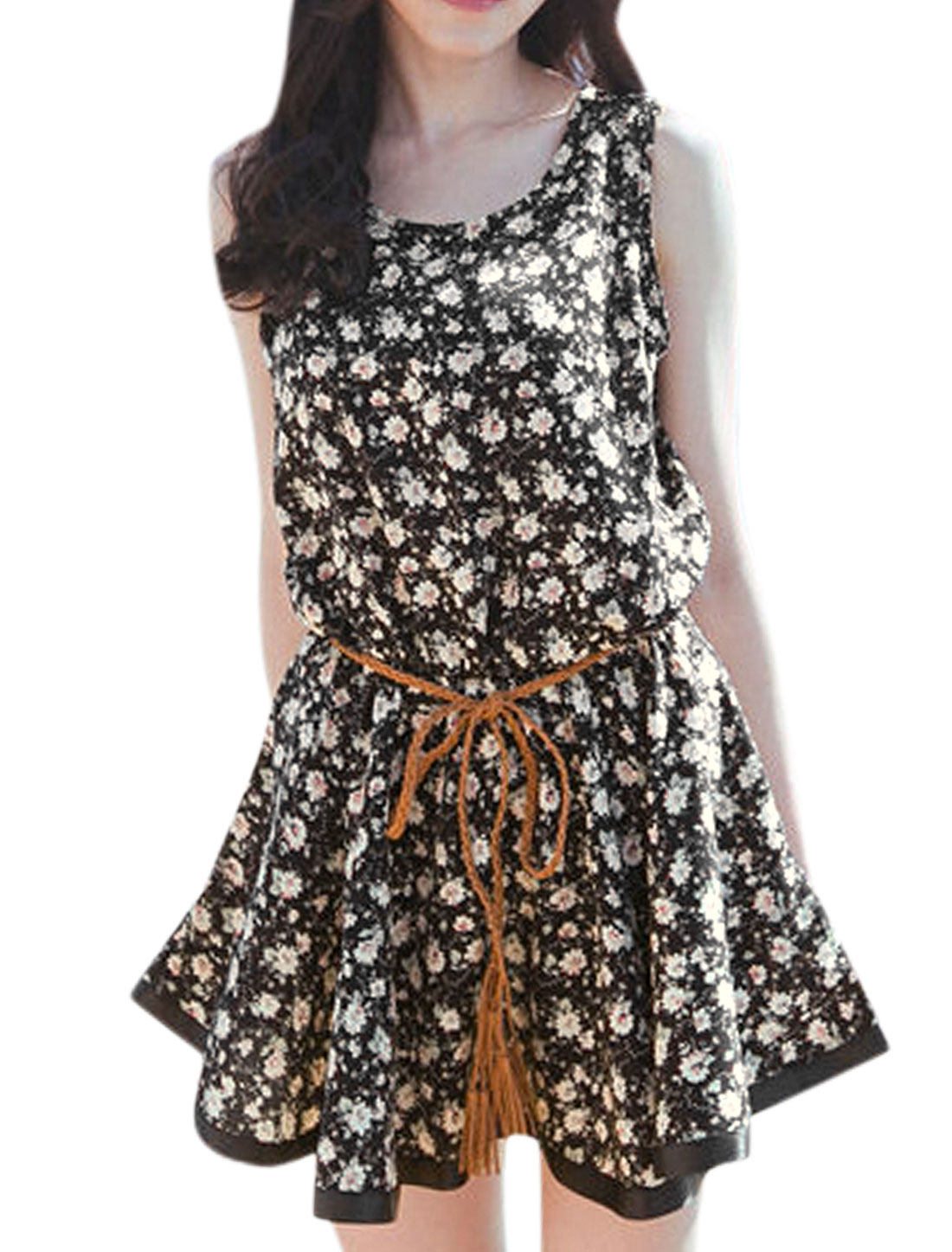Round Neck Floral Prints Leisure Dress for Women Black Beige S