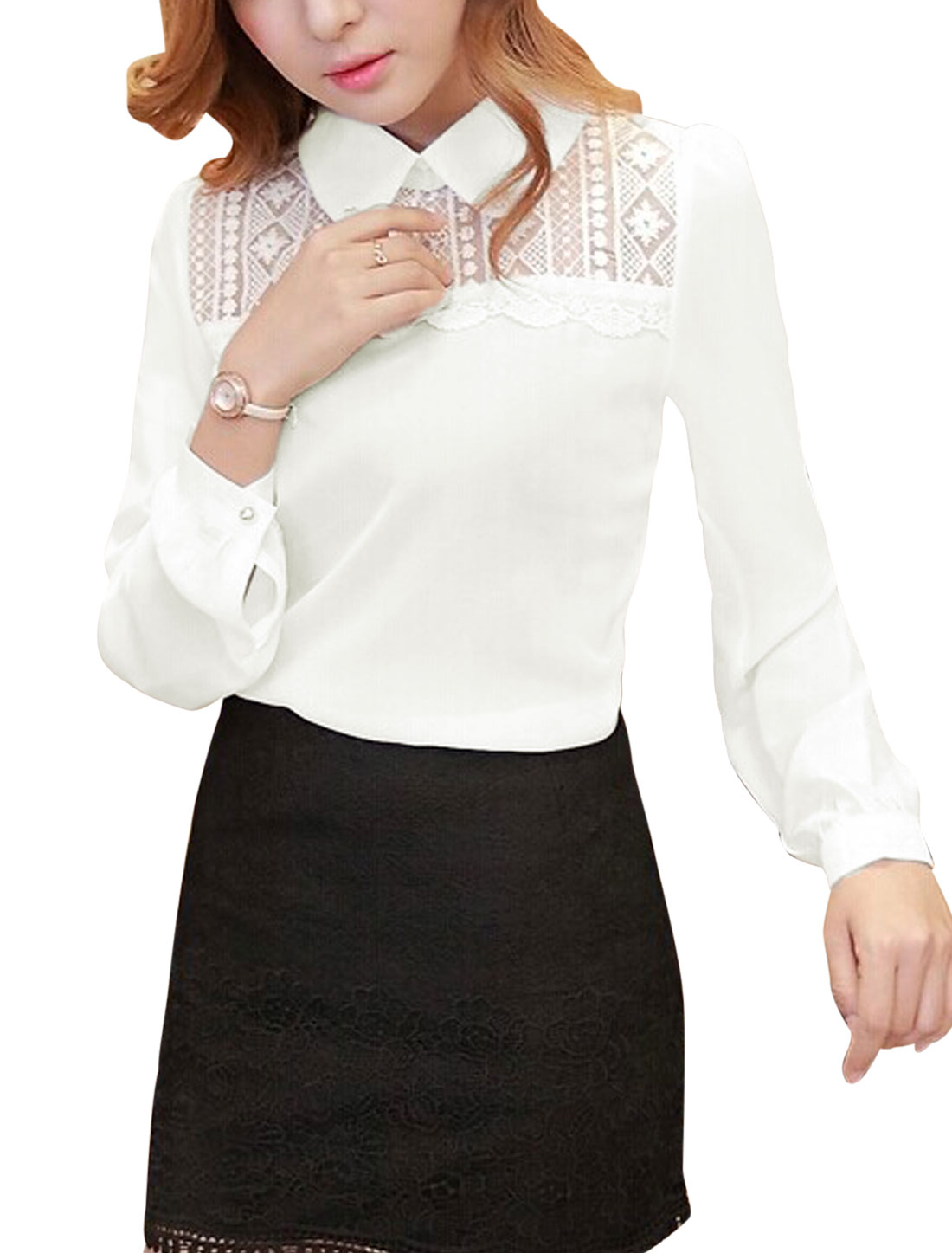 Women Doll Collar Mesh Panel Crochet Chic Slipover Chiffon Shirt White M