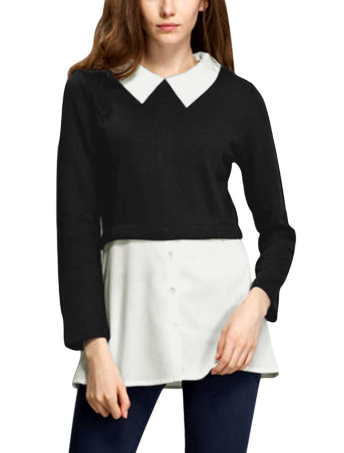 Ladies White Black Layered Shirts Splice Half Button Down Tunic Shirt XS