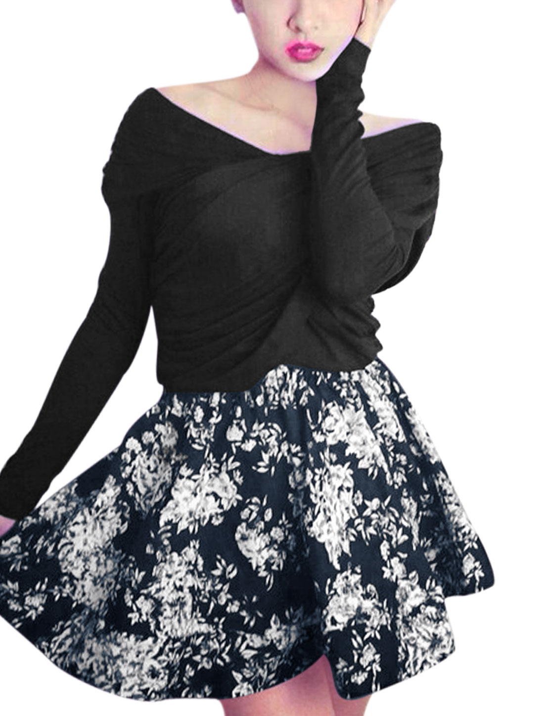 Women V Neck Sexy Black Top w Floral Prints Navy Blue A-Line Skirt XS