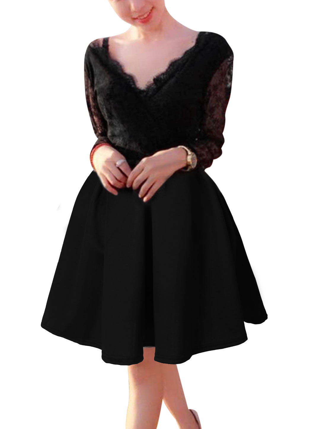 Women Black Pullover Lace Splice Ruched Detail Leisure Unlined Dress S