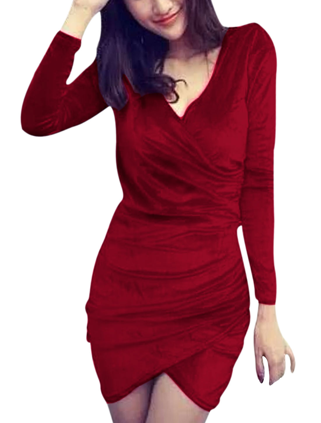 Women Red Slipover Ruched Detail Low-High Hem Velvet Ruched Dress XS