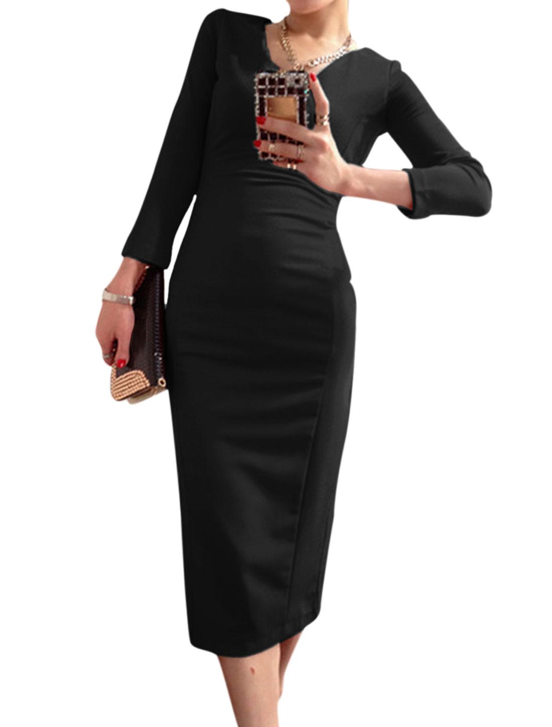 V Neck 3/4 Sleeves Pullover Elegant Dress for Women Black S