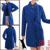 Ladies Royal Blue Button Closure Front Pockets Strap Decor Long Worsted Coat XS