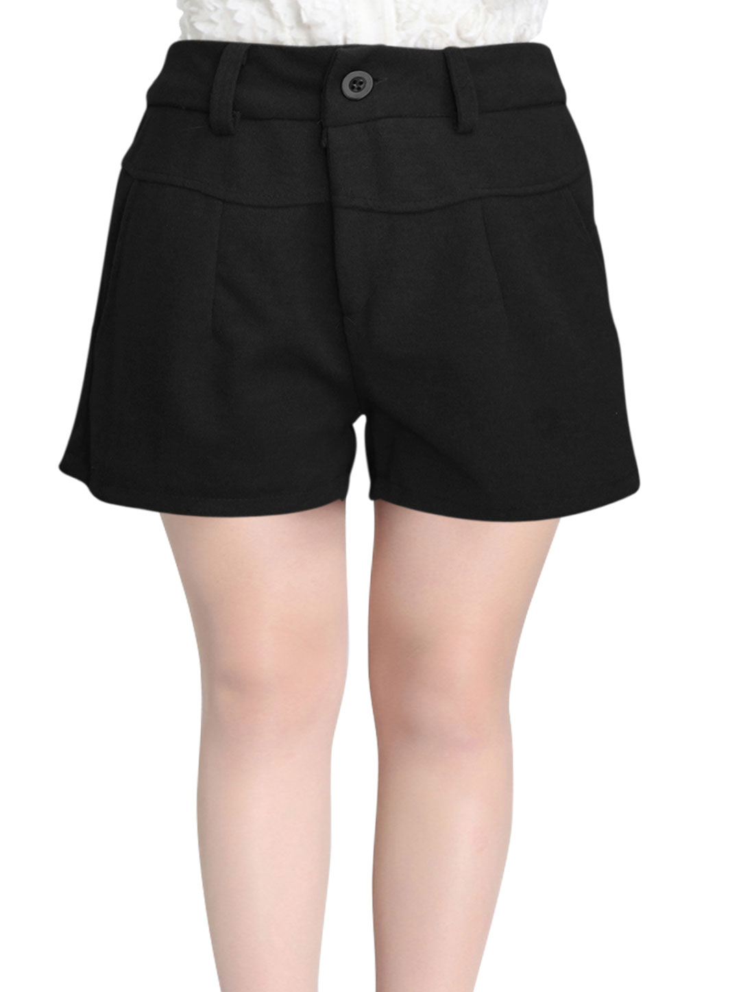 Natural Waist One Button Zip Fly Casual Short Pants for Women Black S