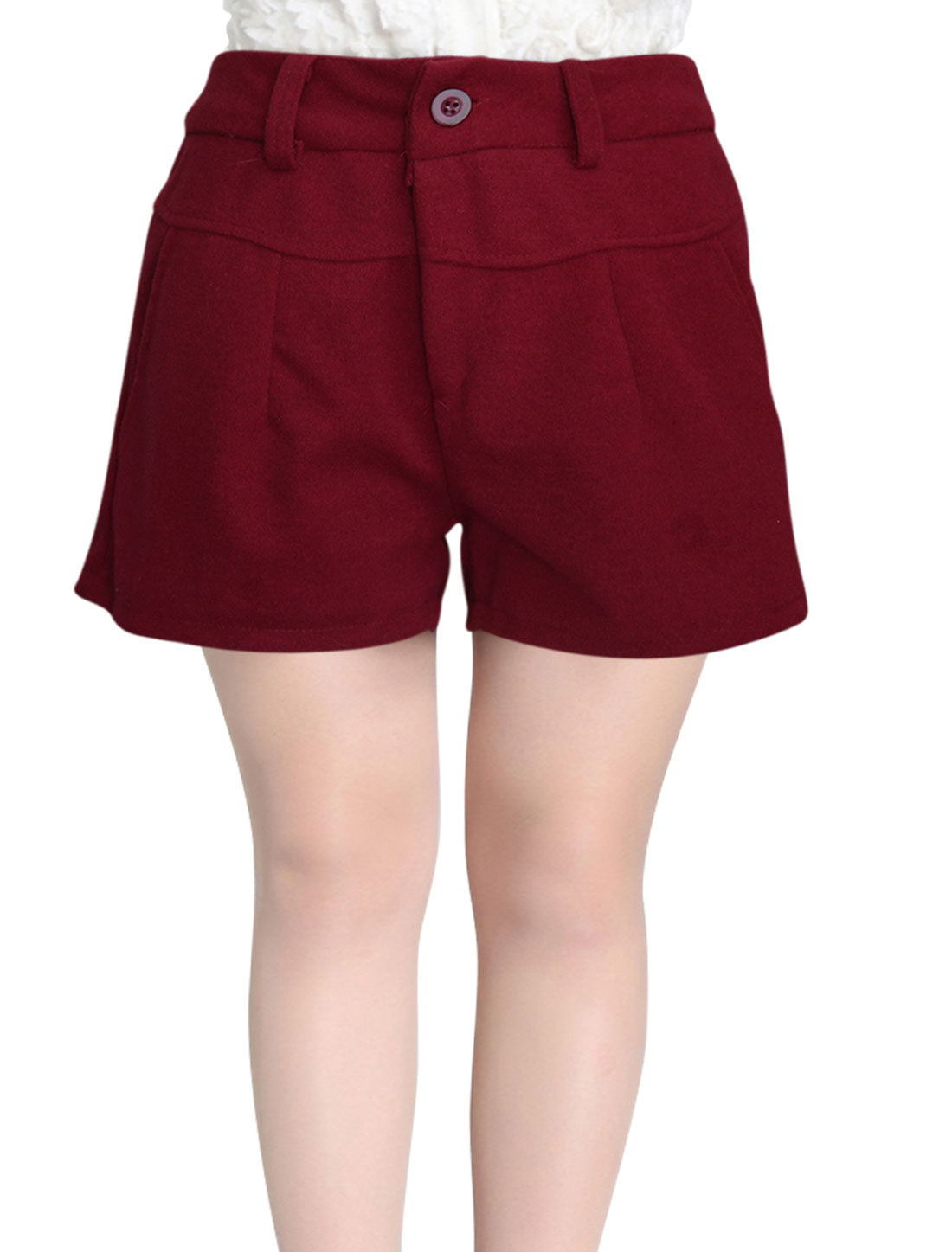 Women Double Front Pockets Zip Up NEW Worsted Shorts Burgundy S