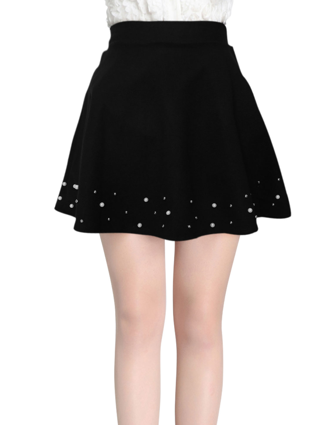 Women Beaded Hem Natural Waist Casual Worsted Skirt Black XS