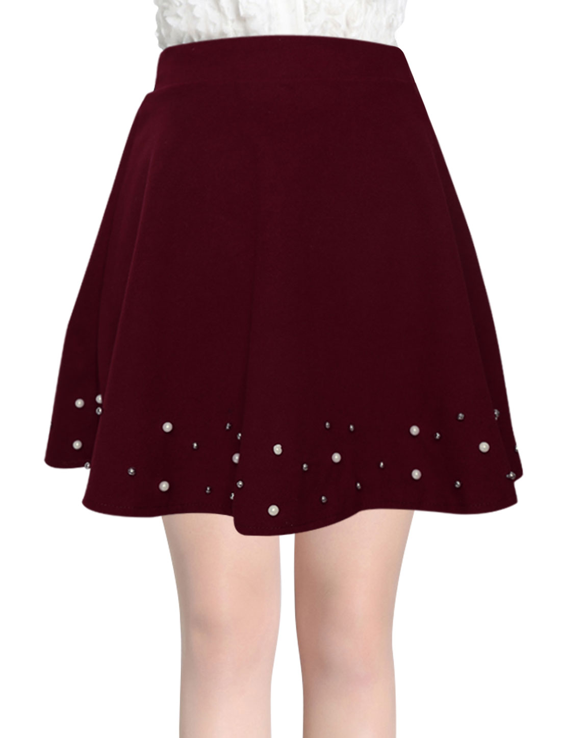 Women Natural Waist Full Lined Fashion Worsted Skirt Burgundy XS