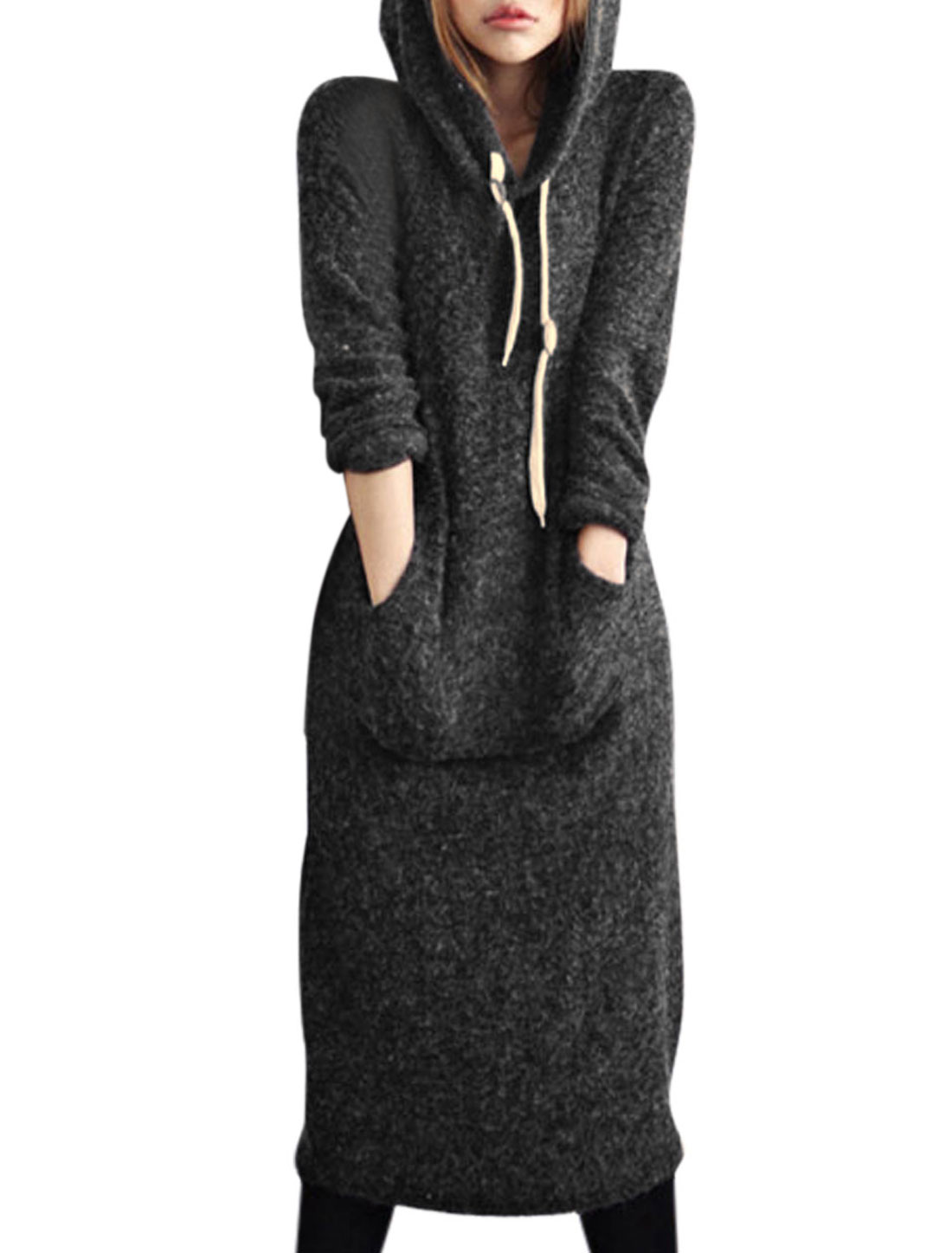 Women Hooded Kangaroo Pocket Casual Knit Midi Dresses Dark Gray M