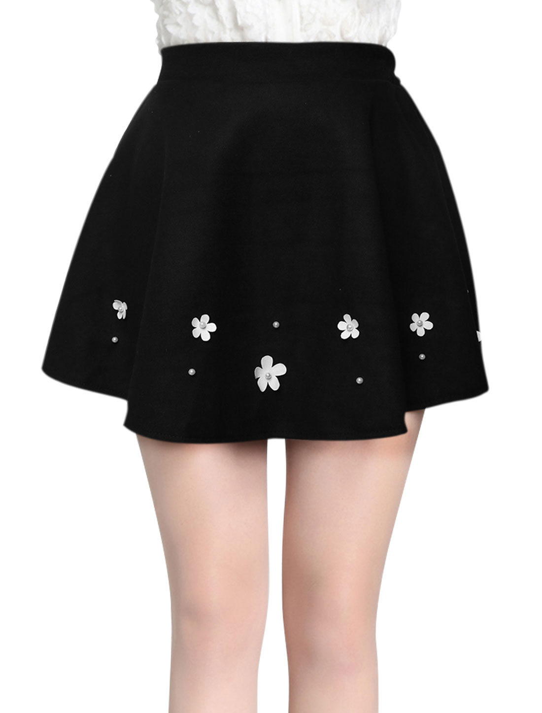 Natural Waist Full Lined Casual Mini Skirt for Women Black XS