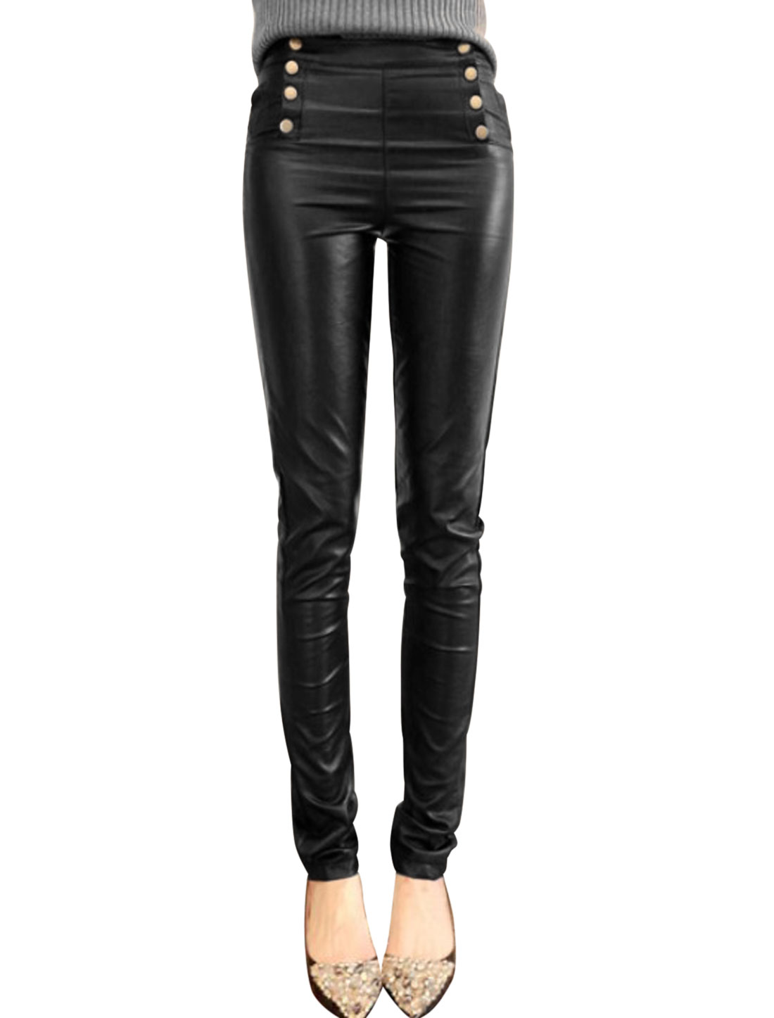 Women Snap Fastener Side Imitation Leather Pants Black S