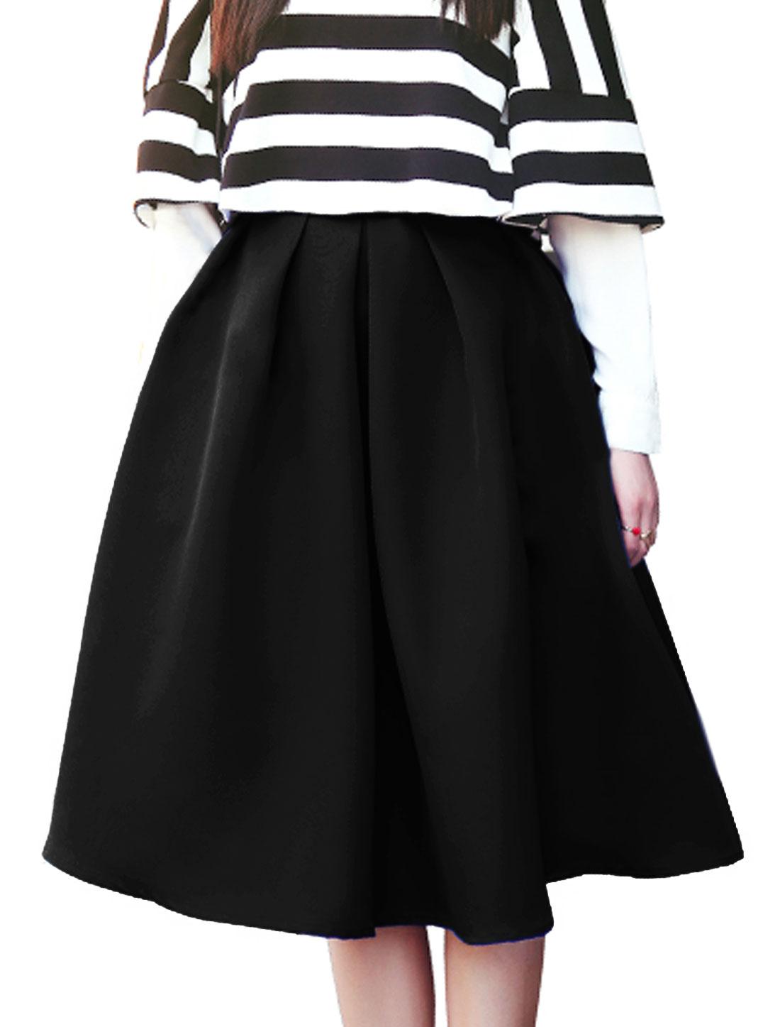 Women Ruffled Design Below Knee Length Full Skirt Black S