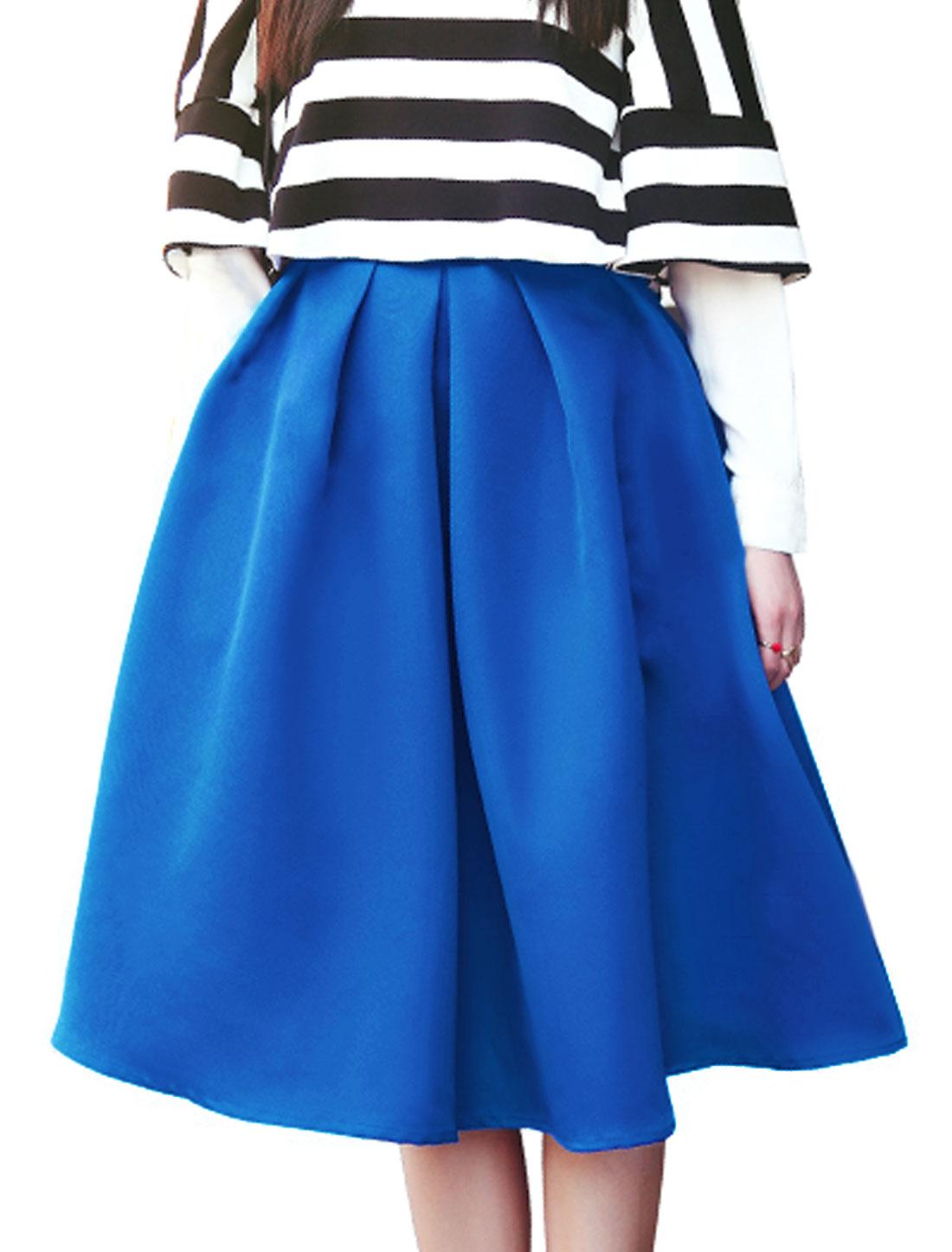 Half Lined Round Hem Stylish Royal Blue Full Skirt for Women S
