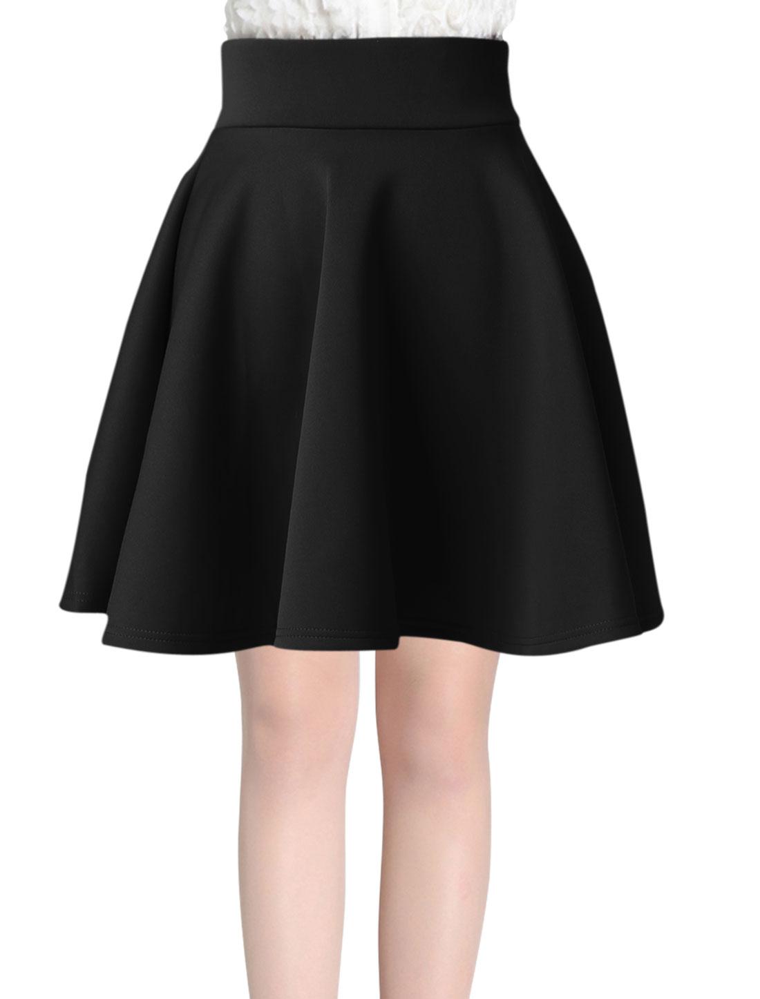 High Waist Ruffled New Style A-Line Skirt for Women Black XS