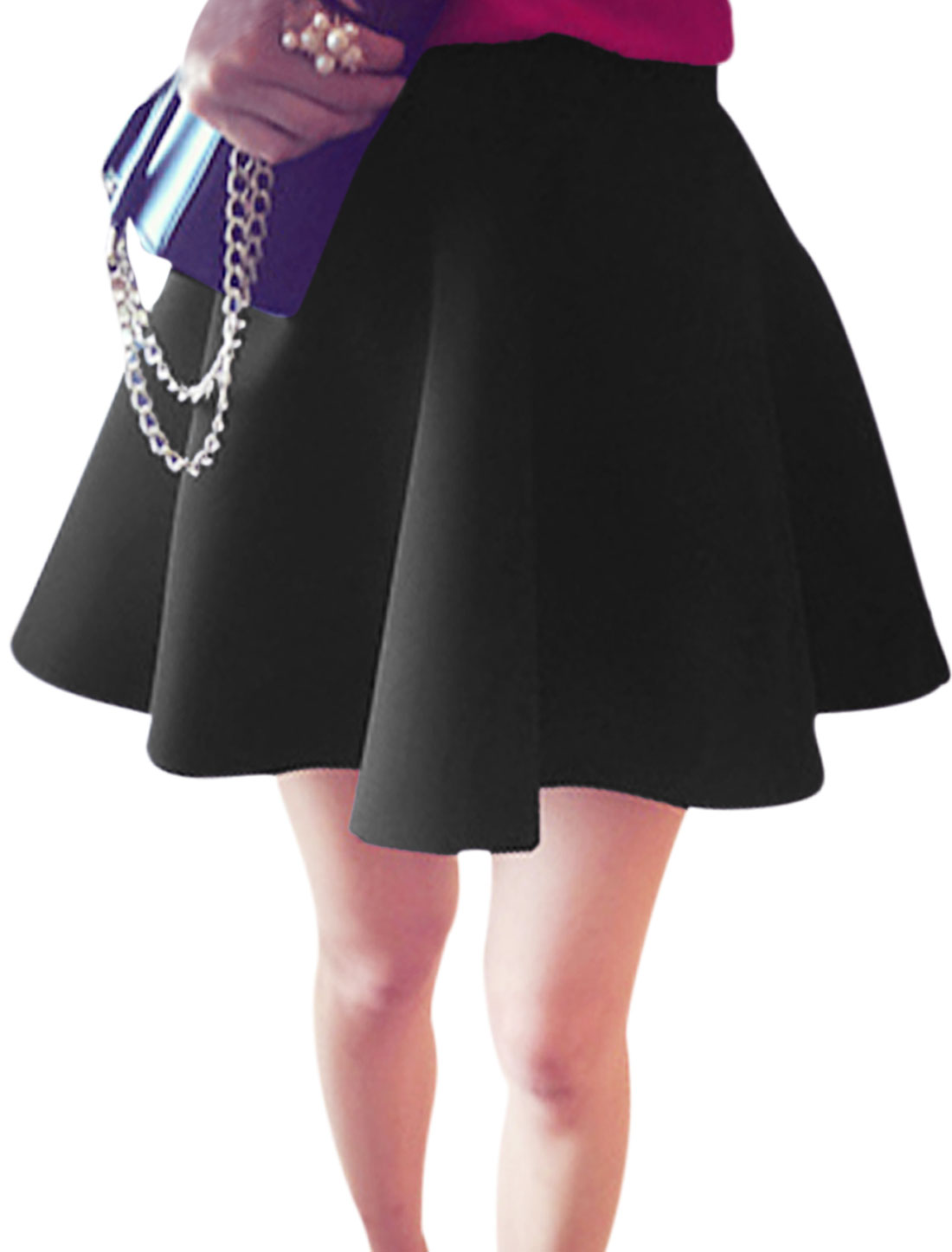Women High Waist Contrast Waistband Leisure Full Skirt Black XS
