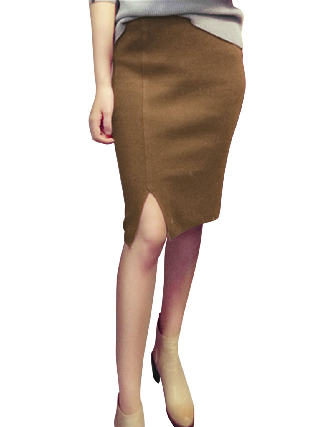Ladies Split Side Stretch Slim Fit Coffee Knit Pencil Skirt M