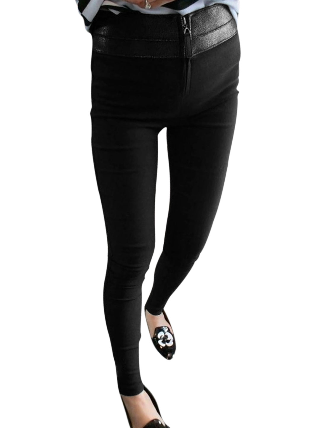 Women Natural Waist Zipper Front Casual Pencil Pants Black XS