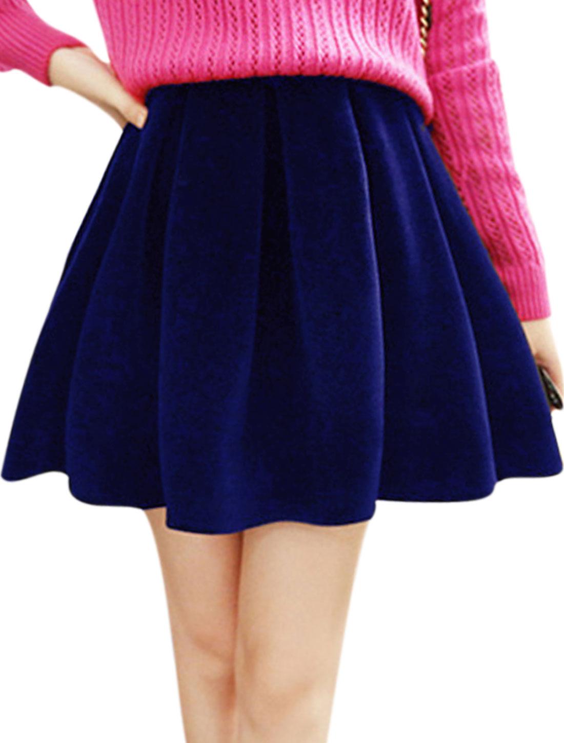 High Waist Pleated Fashion Velvet Skirt for Women Royal Blue S